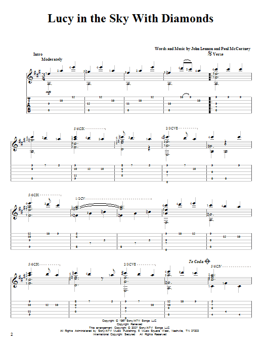 Tablature guitare Lucy In The Sky With Diamonds de The Beatles - Tablature Guitare