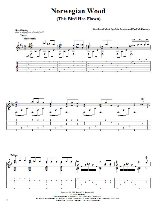 Tablature guitare Norwegian Wood (This Bird Has Flown) de The Beatles - Tablature Guitare