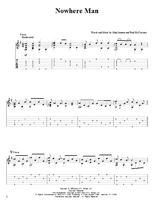 Tablature guitare Nowhere Man de The Beatles - Tablature Guitare