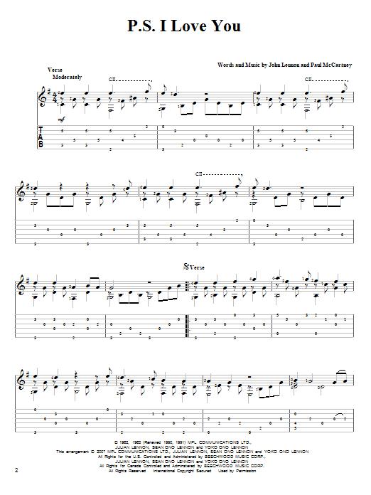 Tablature guitare P.S. I Love You de The Beatles - Tablature Guitare