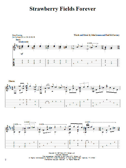 Tablature guitare Strawberry Fields Forever de The Beatles - Tablature Guitare