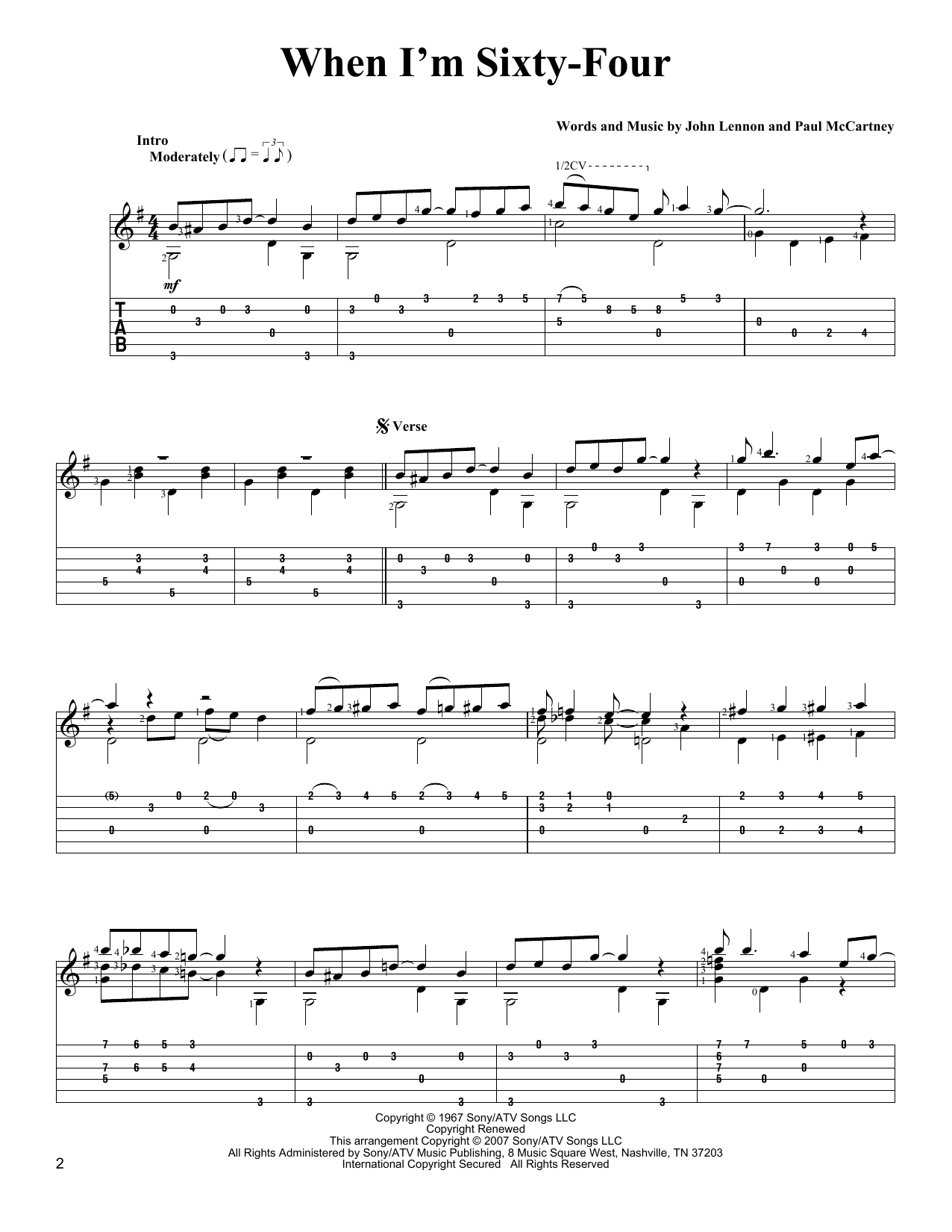 Tablature guitare When I'm Sixty-Four de The Beatles - Tablature Guitare