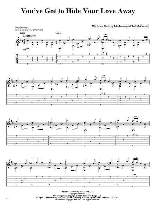 Tablature guitare You've Got To Hide Your Love Away de The Beatles - Tablature Guitare
