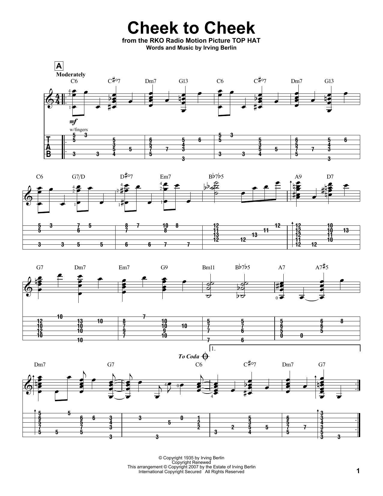 Tablature guitare Cheek To Cheek de Irving Berlin - Tablature Guitare