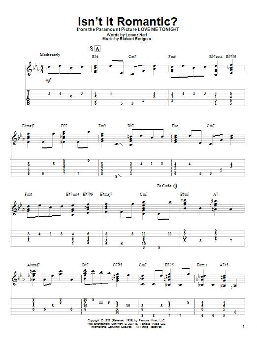 Tablature guitare Isn't It Romantic? de Rodgers & Hart - Tablature Guitare