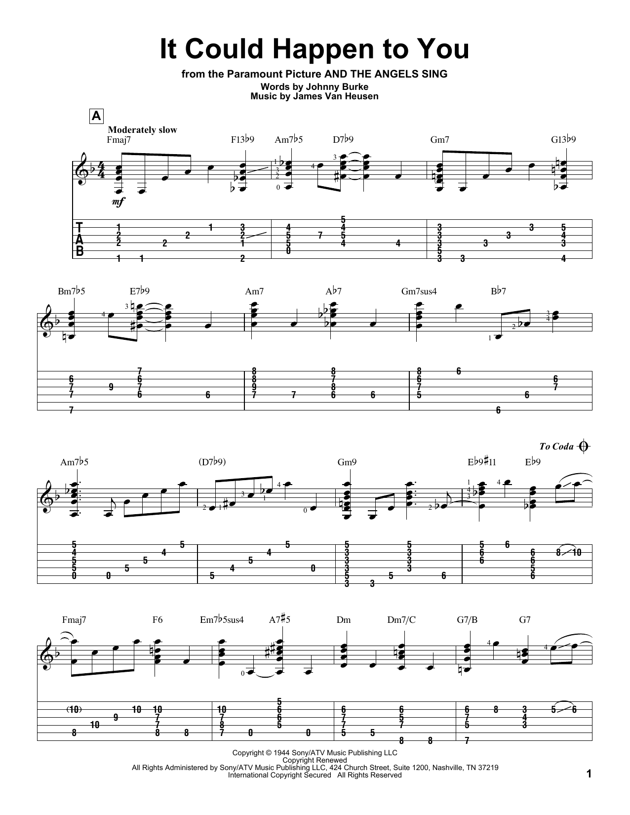 Tablature guitare It Could Happen To You de Frank Sinatra - Tablature Guitare