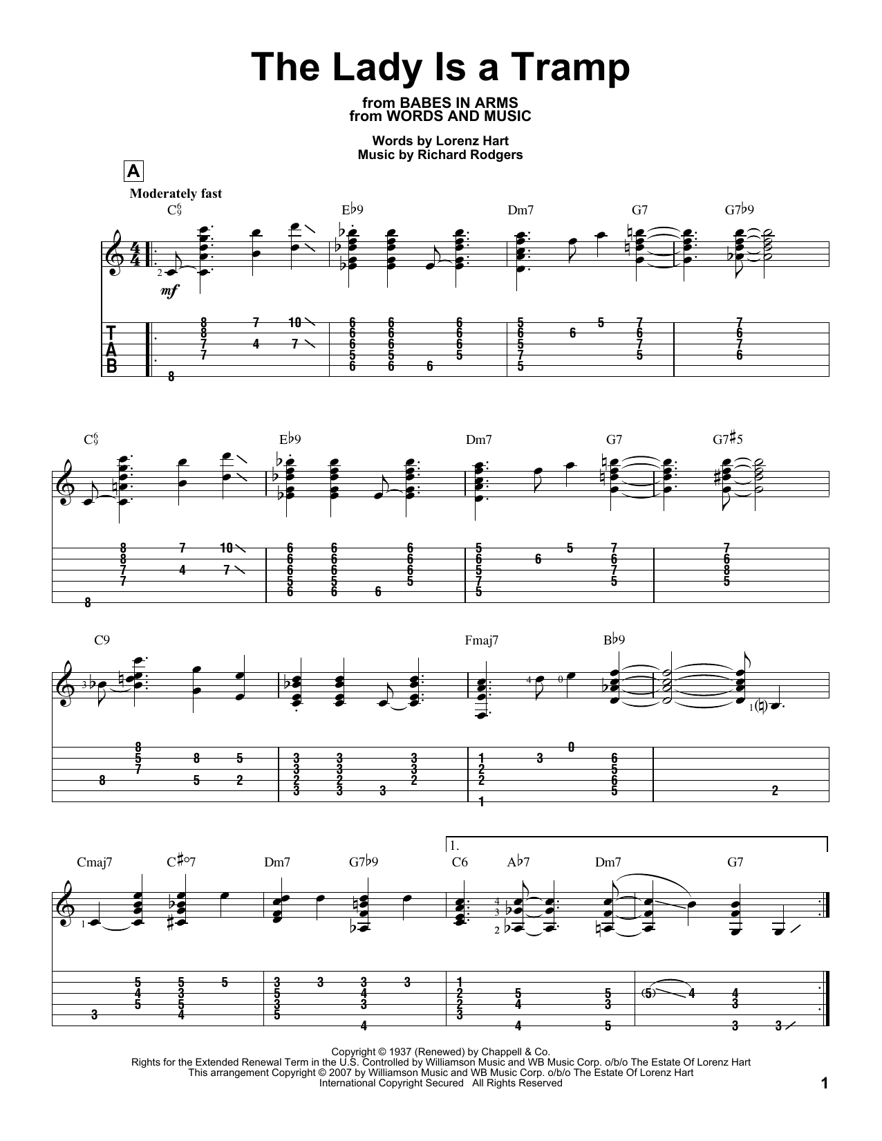 Tablature guitare The Lady Is A Tramp de Rodgers & Hart - Tablature Guitare