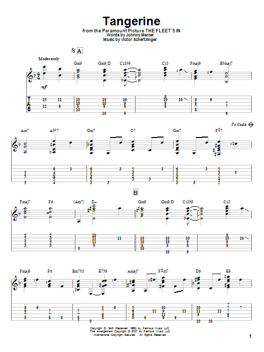 Tablature guitare Tangerine de Johnny Mercer - Tablature Guitare
