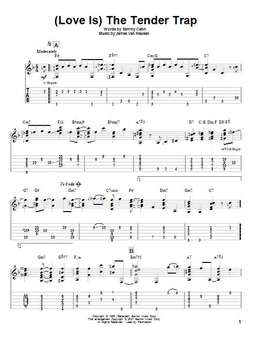 Tablature guitare (Love Is) The Tender Trap de Frank Sinatra - Tablature Guitare