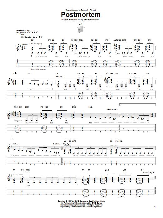 Tablature guitare Postmortem de Slayer - Tablature Guitare