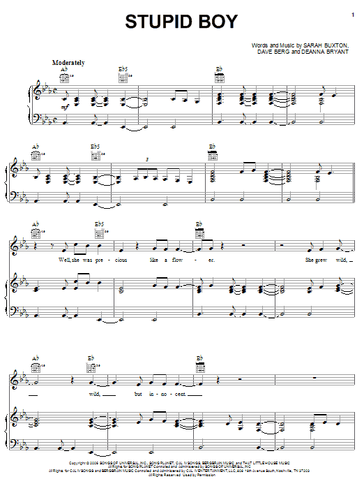 Stupid Boy sheet music by Keith Urban (Piano, Vocal u0026 Guitar (Right-Hand Melody) u2013 57327)