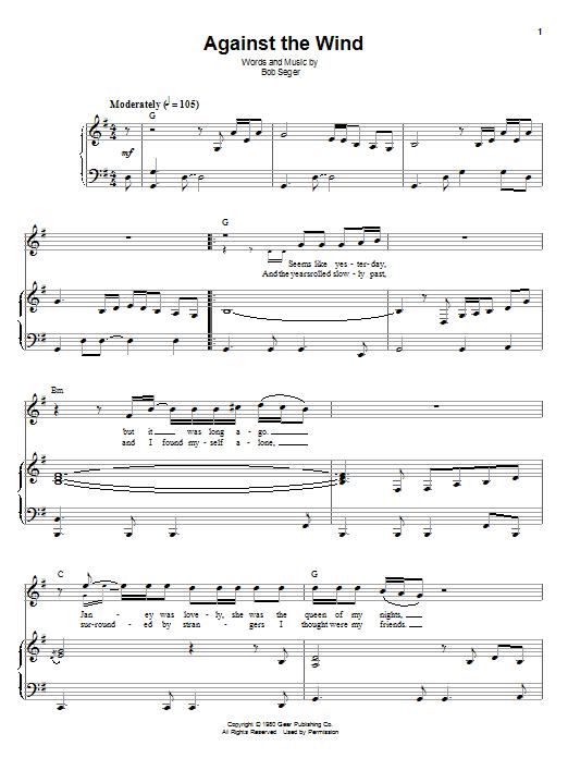 Sheet Music Digital Files To Print - Licensed Bob Seger & The Silver ...