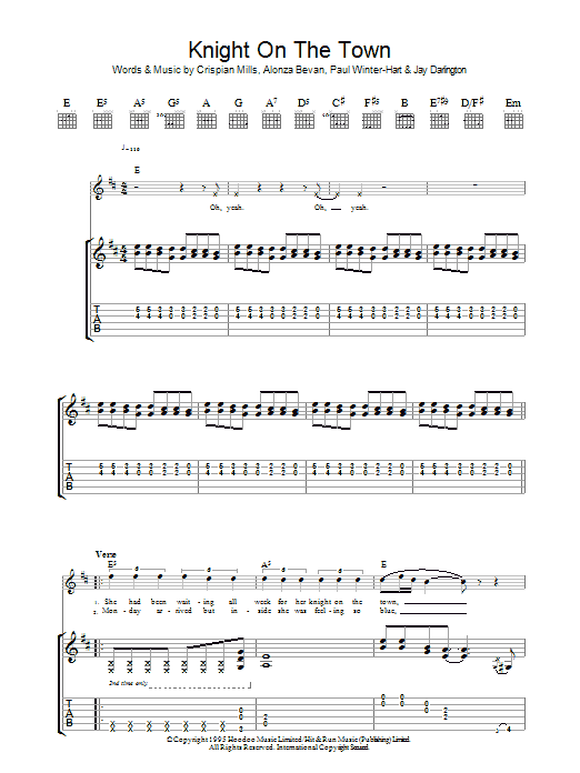 Knight On The Town sheet music for guitar solo (tablature) by Paul Winter-Hart