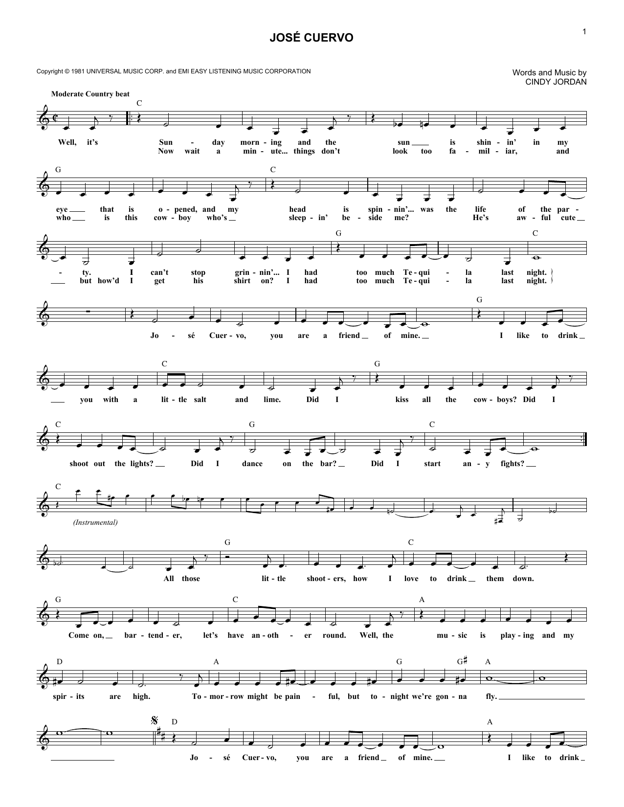 Jose Cuervo sheet music for voice and other instruments (fake book) by Cindy Jordan
