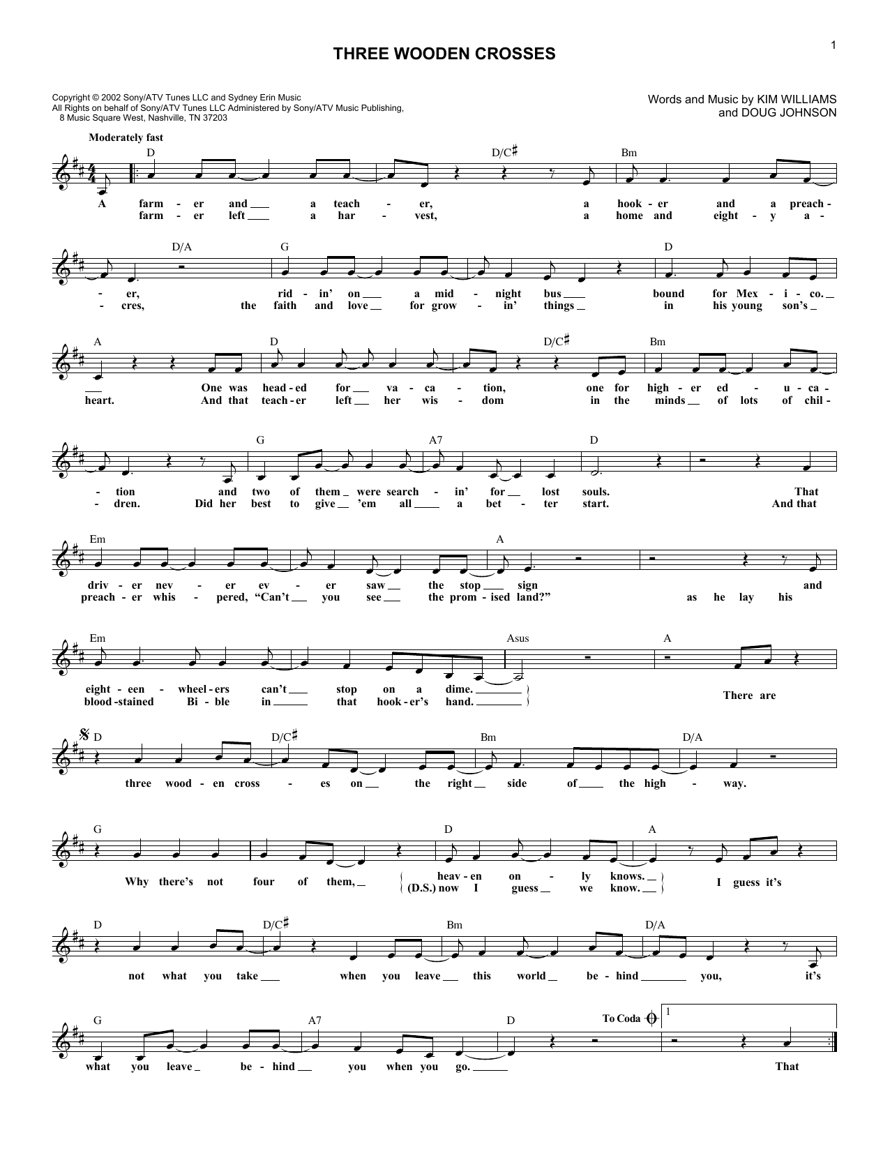 Three Wooden Crosses sheet music for voice and other instruments (fake book) by Kim Williams