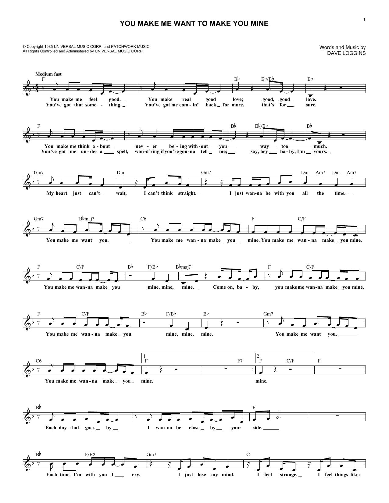You Make Me Want To Make You Mine sheet music for voice and other instruments (fake book) by Dave Loggins