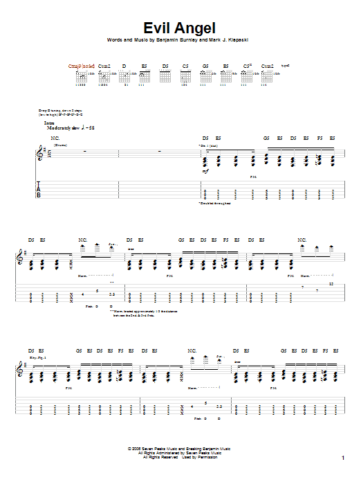 Tablature guitare Evil Angel de Breaking Benjamin - Tablature Guitare