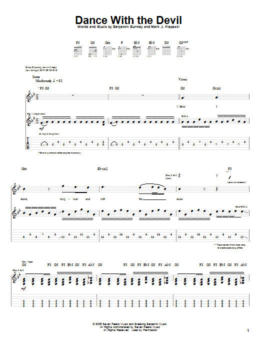 Tablature guitare Dance With The Devil de Breaking Benjamin - Tablature Guitare