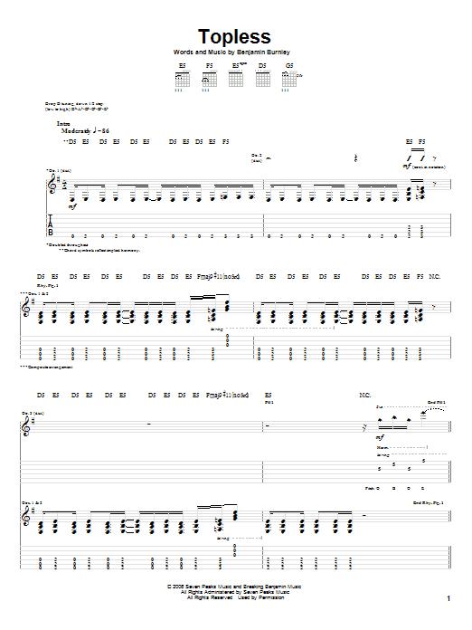 Tablature guitare Topless de Breaking Benjamin - Tablature Guitare