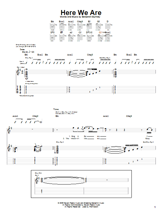 Tablature guitare Here We Are de Breaking Benjamin - Tablature Guitare