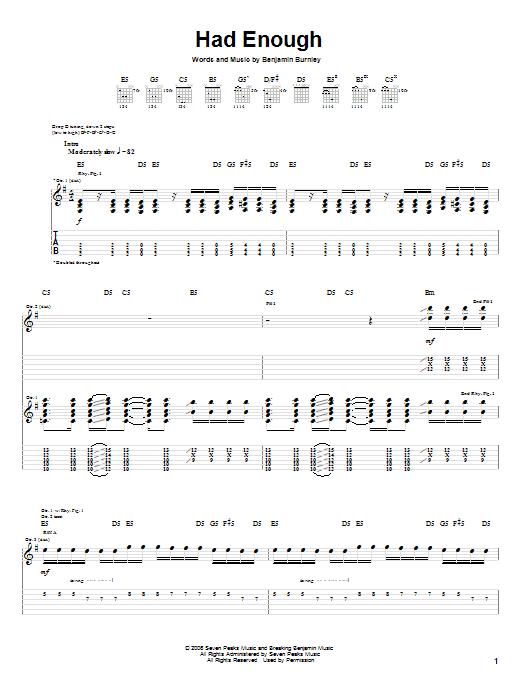 Tablature guitare Had Enough de Breaking Benjamin - Tablature Guitare