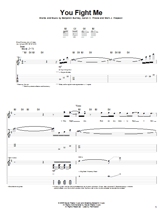 Tablature guitare You Fight Me de Breaking Benjamin - Tablature Guitare