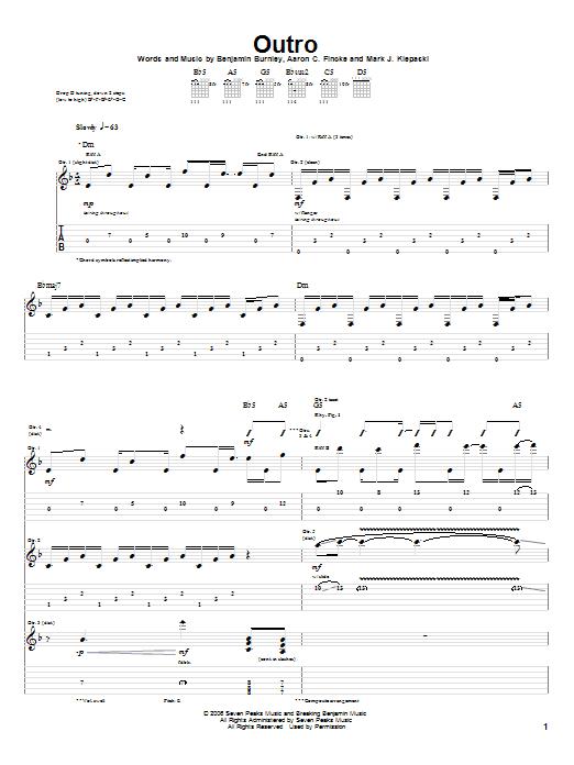 Tablature guitare Outro de Breaking Benjamin - Tablature Guitare