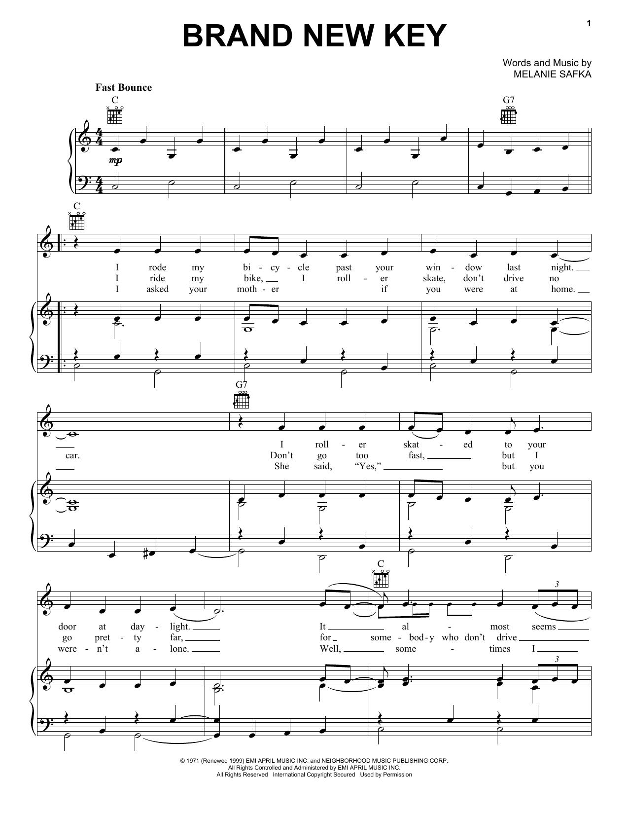 Partition piano Brand New Key de Melanie - Piano Voix Guitare (Mélodie Main Droite)