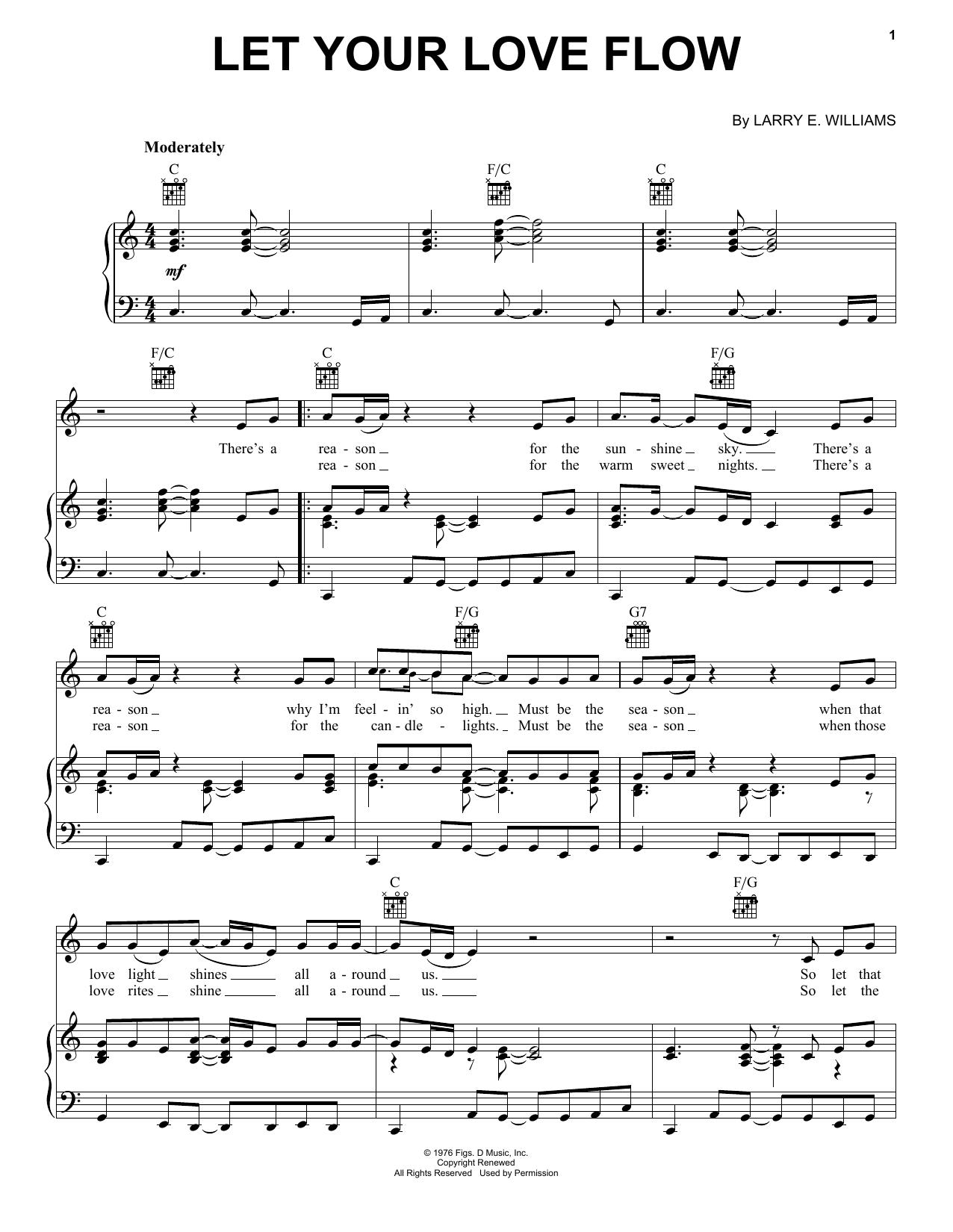 Partition piano Let Your Love Flow de Bellamy Brothers - Piano Voix Guitare (Mélodie Main Droite)