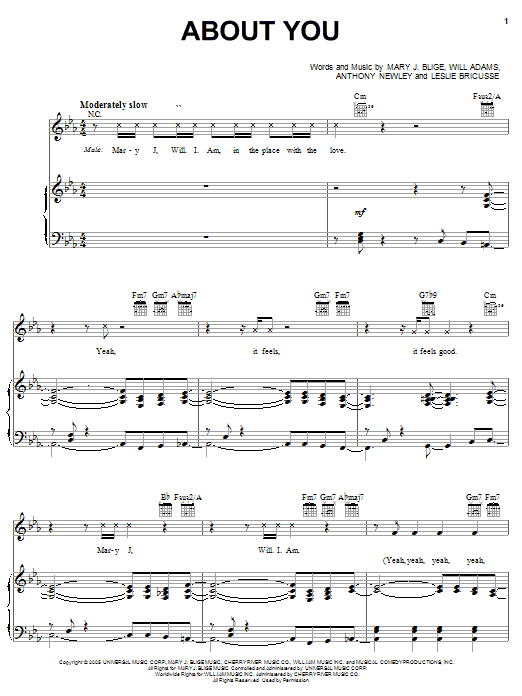 About You sheet music for voice, piano or guitar by Will Adams