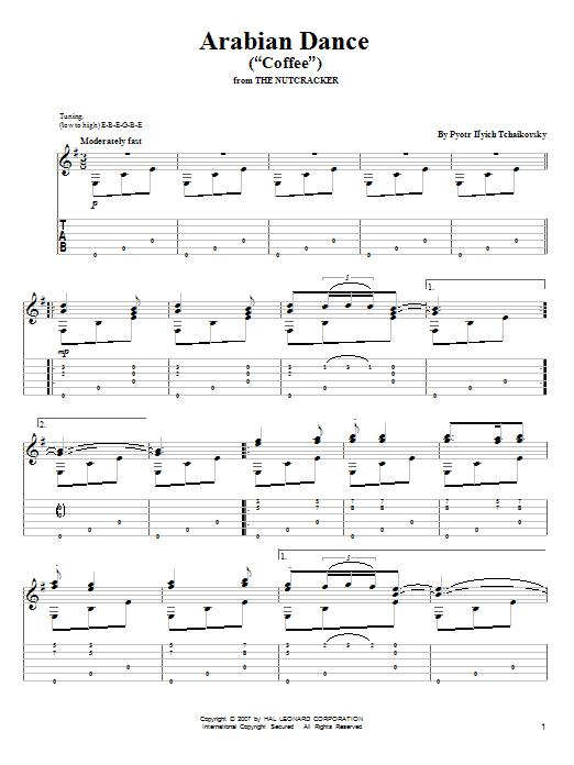 """Tablature guitare Arabian Dance (""""Coffee"""") de Pyotr Il'yich Tchaikovsky - Tablature Guitare"""