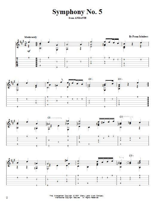 Tablature guitare Symphony No. 5 de Franz Schubert - Tablature Guitare