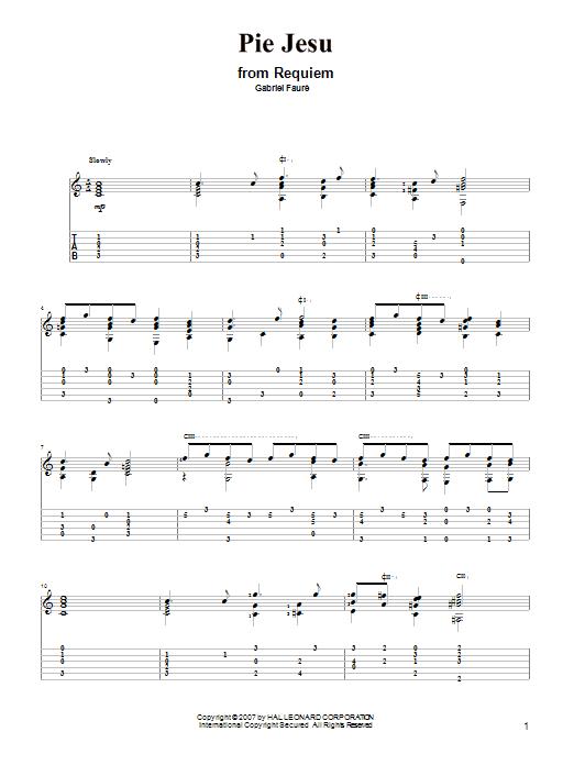 Tablature guitare Pie Jesu de Gabriel Faure - Tablature Guitare