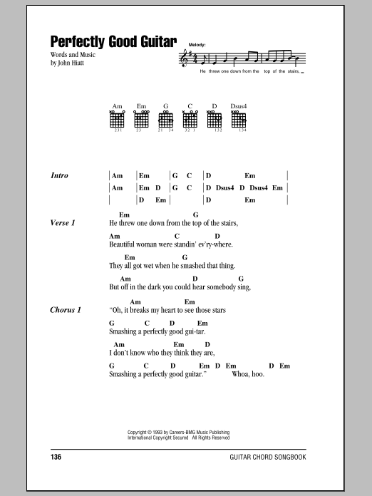 Perfectly Good Guitar sheet music for guitar solo (chords, lyrics, melody) by John Hiatt