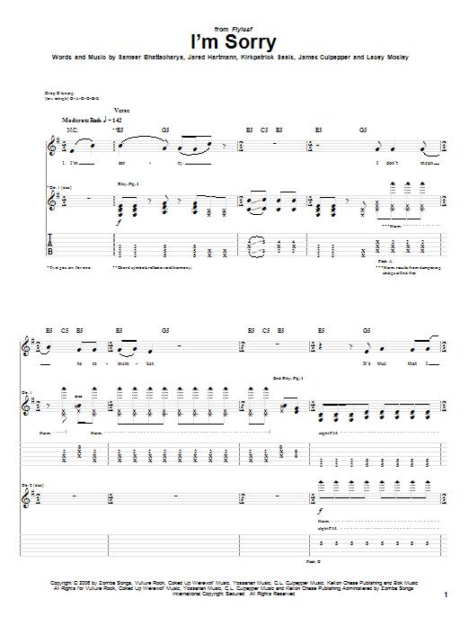 Tablature guitare I'm Sorry de Flyleaf - Tablature Guitare