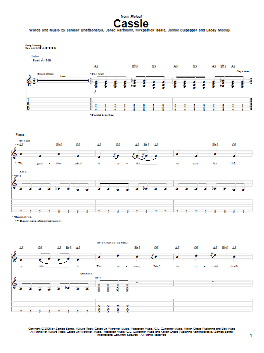 Tablature guitare Cassie de Flyleaf - Tablature Guitare