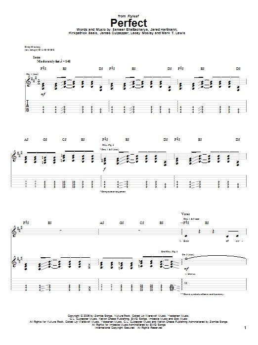 Tablature guitare Perfect de Flyleaf - Tablature Guitare
