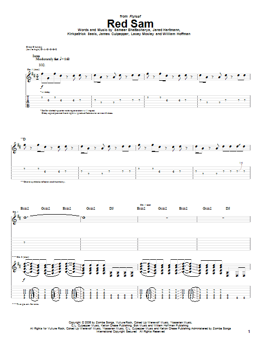 Tablature guitare Red Sam de Flyleaf - Tablature Guitare