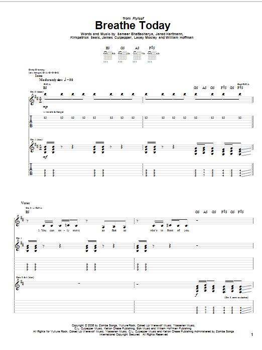 Tablature guitare Breathe Today de Flyleaf - Tablature Guitare