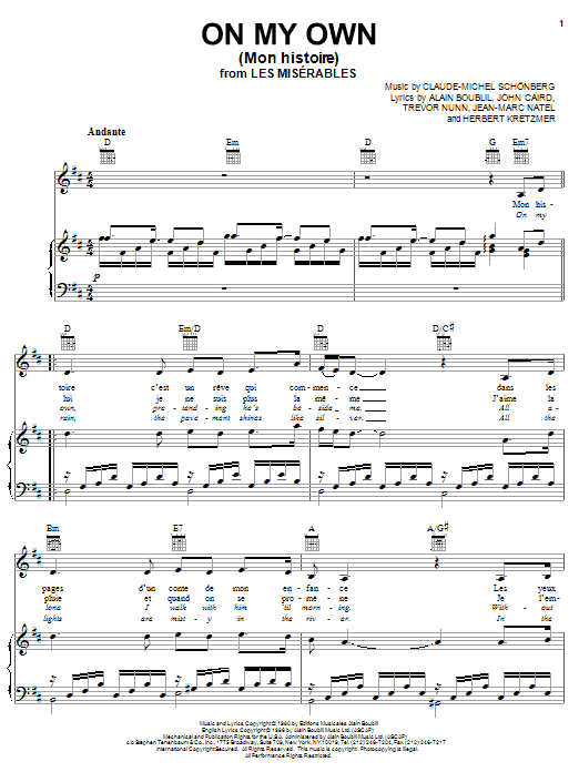 Partition piano On My Own (from Les Miserables) de Boublil and Schonberg - Piano Voix Guitare (Mélodie Main Droite)