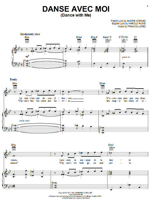 Danse Avec Moi sheet music for voice, piano or guitar by Harold Rome