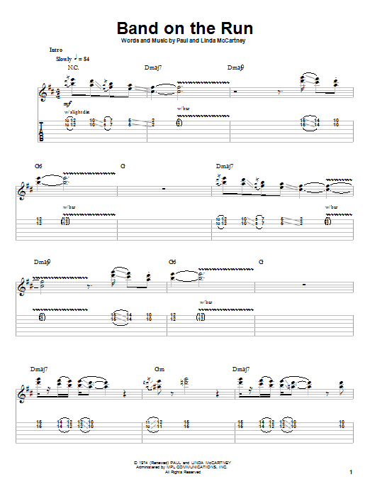 Tablature guitare Band On The Run de Paul McCartney & Wings - Tablature Guitare