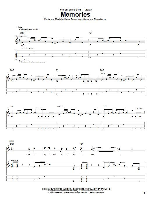 Tablature guitare Memories de Los Lonely Boys - Tablature Guitare