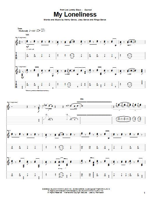 Tablature guitare My Loneliness de Los Lonely Boys - Tablature Guitare