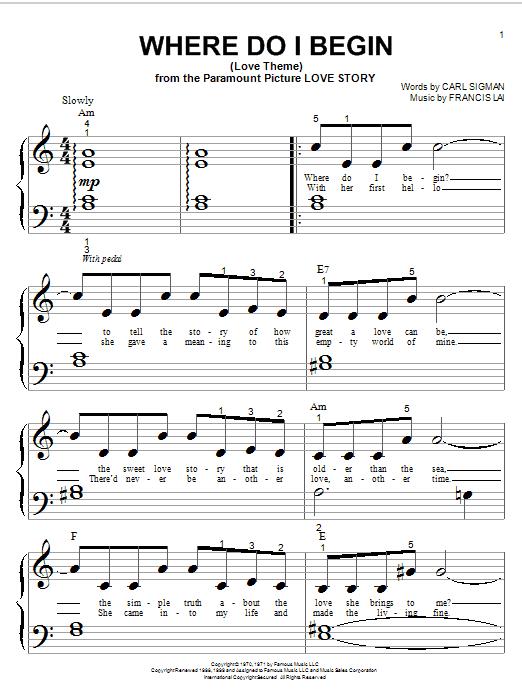 Partition piano Where Do I Begin (Love Theme) de Andy Williams - Piano Facile