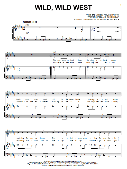 Wild, Wild West sheet music for voice, piano or guitar by Trevor Steel