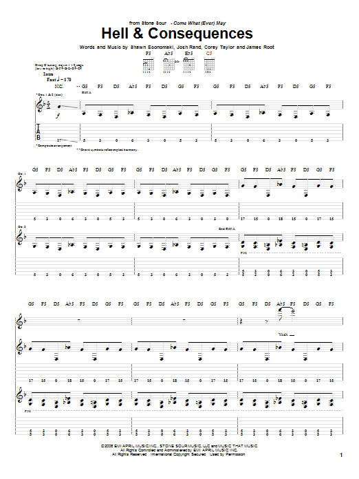 Tablature guitare Hell & Consequences de Stone Sour - Tablature Guitare