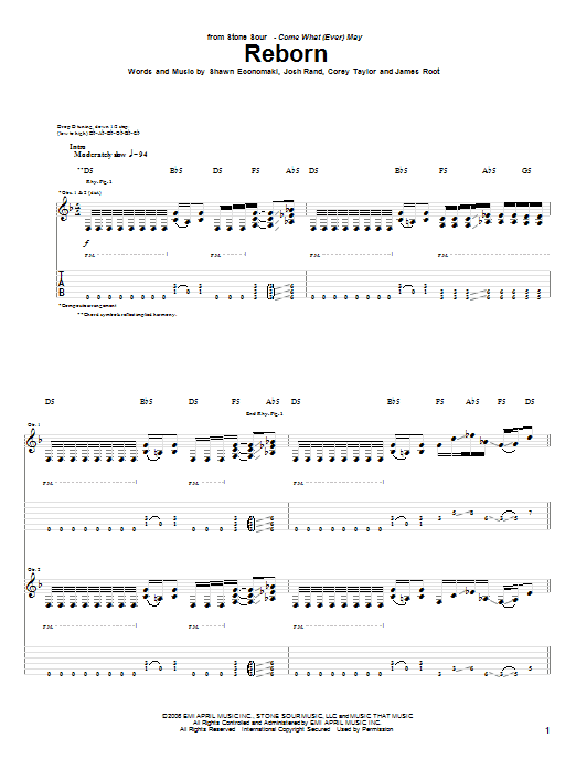 Tablature guitare Reborn de Stone Sour - Tablature Guitare
