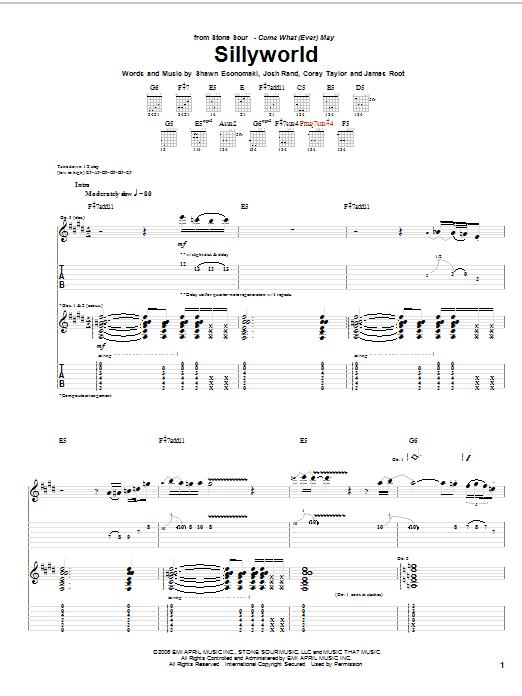 Tablature guitare Sillyworld de Stone Sour - Tablature Guitare