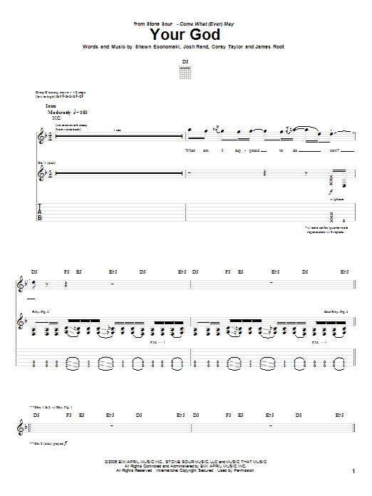 Your God sheet music for guitar solo (tablature) by Shawn Economaki